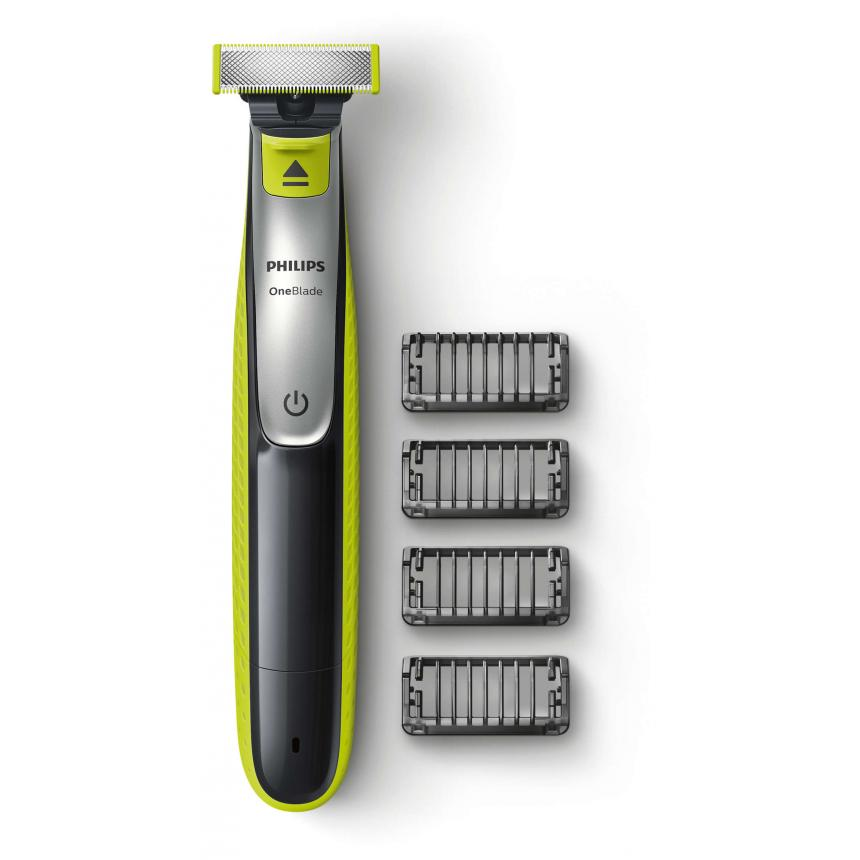 Philips OneBlade с 4 насадками-гребнями QP2530 philips oneblade с 2 насадками гребнями qp2510