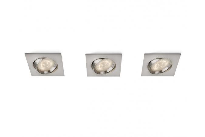 Светильник точечный GALILEO recessed LED nickel 3x3W SELV Philips 59080/17/16