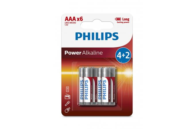Батарея Philips Power Alkaline LR03P6BP