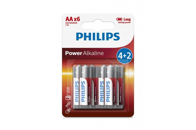 Батарея Philips Power Alkaline LR6P6BP